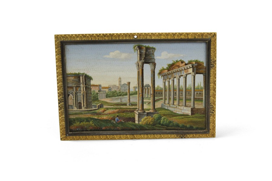 A 19th Century Micro Mosaic Plaque Depicting the Roman Forum