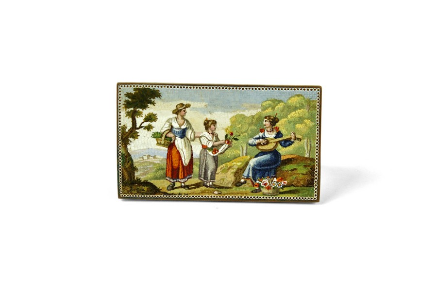 A good 19th Century micro mosaic plaque