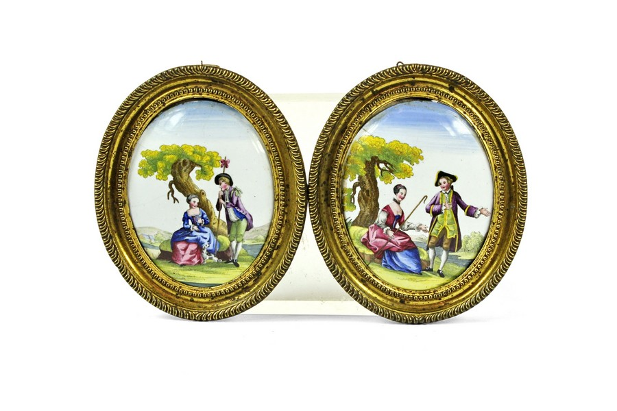 Pair of English Enamel Oval Plaques