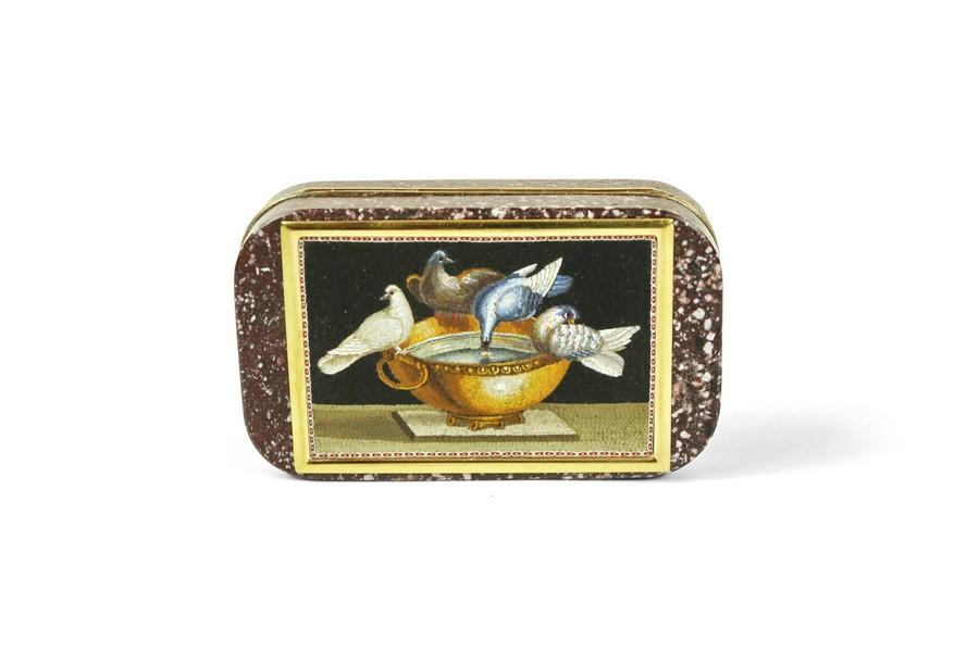 Plineys Doves porphyry and micro mosaic snuff box