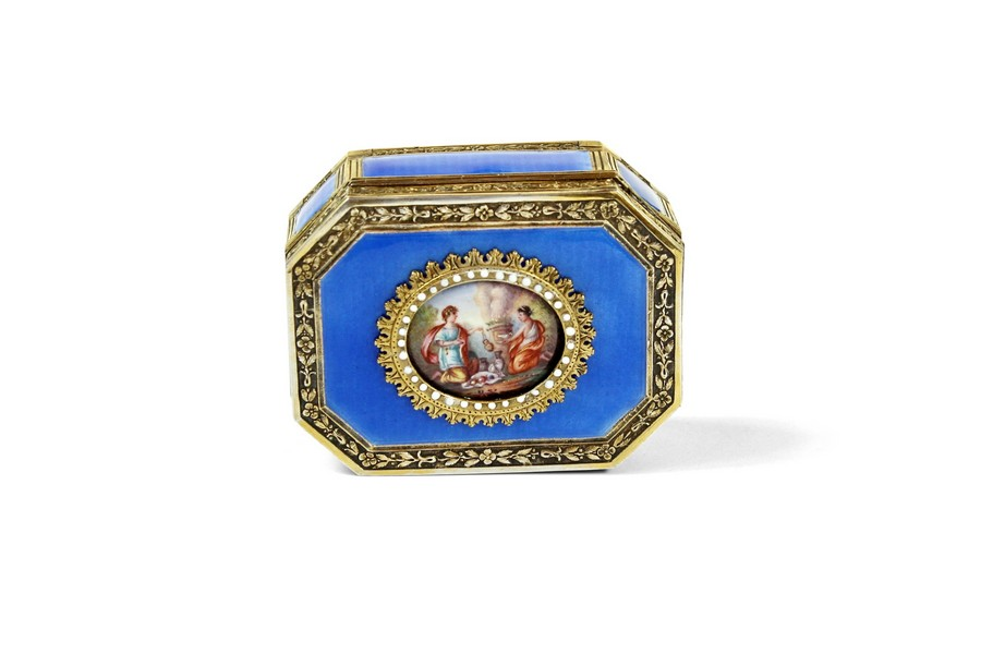 French Engine turned Enamel and silver gilt snuff box